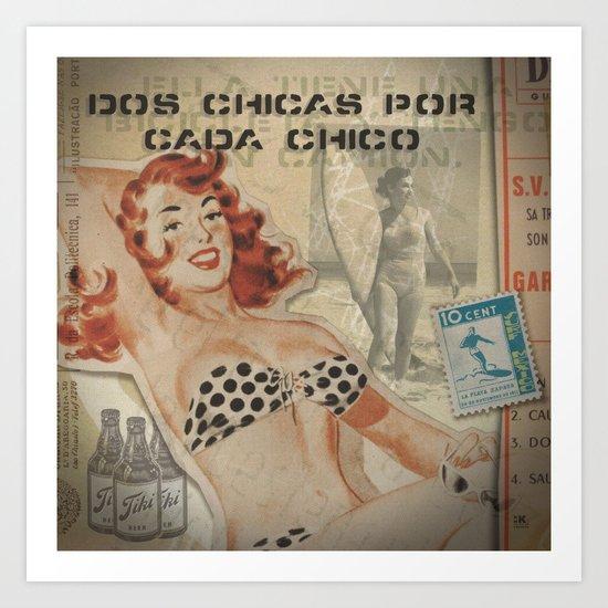 Dos Chicas Por Cada Chico (Pixel Version) Art Print