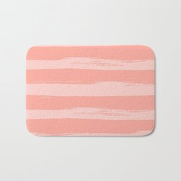 Rose Pink Stripes Design Bath Mat