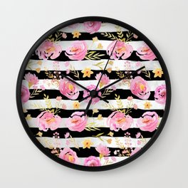 Delicate Poppy Pattern On Stripes Wall Clock
