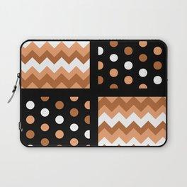 Black/Two-Tone Burnt Orange/White Chevron/Polkadot Laptop Sleeve