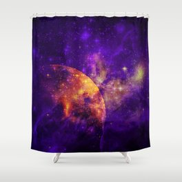 Planet, Nebula and Stars Shower Curtain