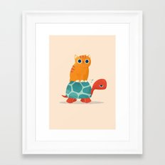 Fat Cat Rides a Turtle Framed Art Print