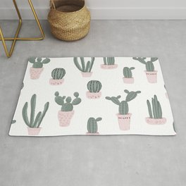 Elegant Cacti in Pots Pattern Rug
