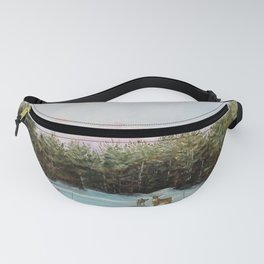 Pine View Deer Landscape Painting Art Fanny Pack