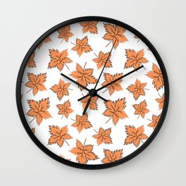 Maple leaves orange Wall Clock
