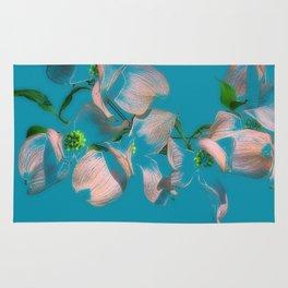 Dogwood Tree Flowers (aqua background) Rug