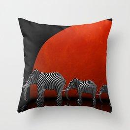 linking elephants Throw Pillow