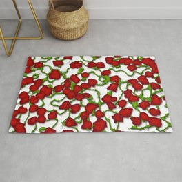 Stylized Climbing Red Roses and Vines Rug