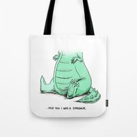 dino Tote Bags featuring Dino by Schewy