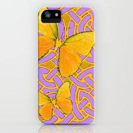 LILAC PURPLE YELLOW BUTTERFLIES CELTIC ART PATTERN iPhone Case