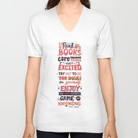 risa rodil V-neck T-shirts featuring Read Books by Risa Rodil