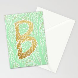 Botanical Metallic Monogram - Letter B Stationery Cards
