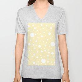 Mixed Polka Dots - White on Blond Yellow Unisex V-Neck