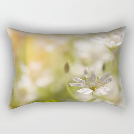 White tender Spring Flowers and blossoms on #Society6 Rectangular Pillow