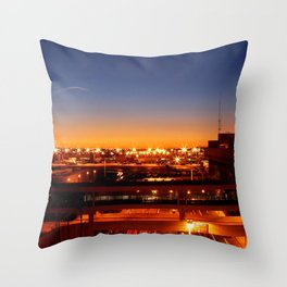 Airport Sunset Time Lapse Throw Pillow