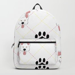 White German Shepherd Paw Print Pattern Backpack