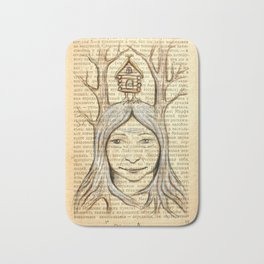 Baba Yaga on an old book page Bath Mat