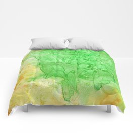 Stained Glass Green & Orange Comforters