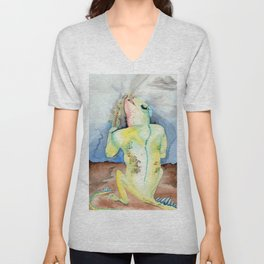 Cigar Smoking Chinese Water Dragon Unisex V-Neck