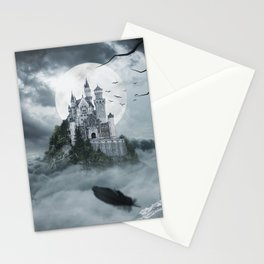 Fantastic Awesome Fairytale Villa Mansion Black Raven Rain Clouds Spooky UHD Stationery Cards