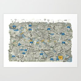 Illustrated map of Berlin-Mitte. Green Art Print