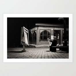 """Travel Photography """"Peaceful evening in Istanbul, Turkey. Fine art photo print, black and white . Art Print"""