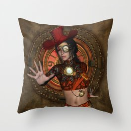 Steampunk women with hat Throw Pillow