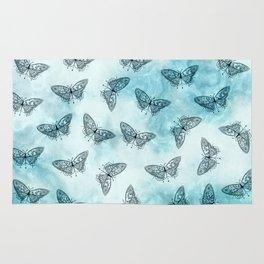Black Butterfly Print Rug