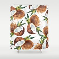 coconut wishes Shower Curtains featuring Coconut by Vale Bocchi