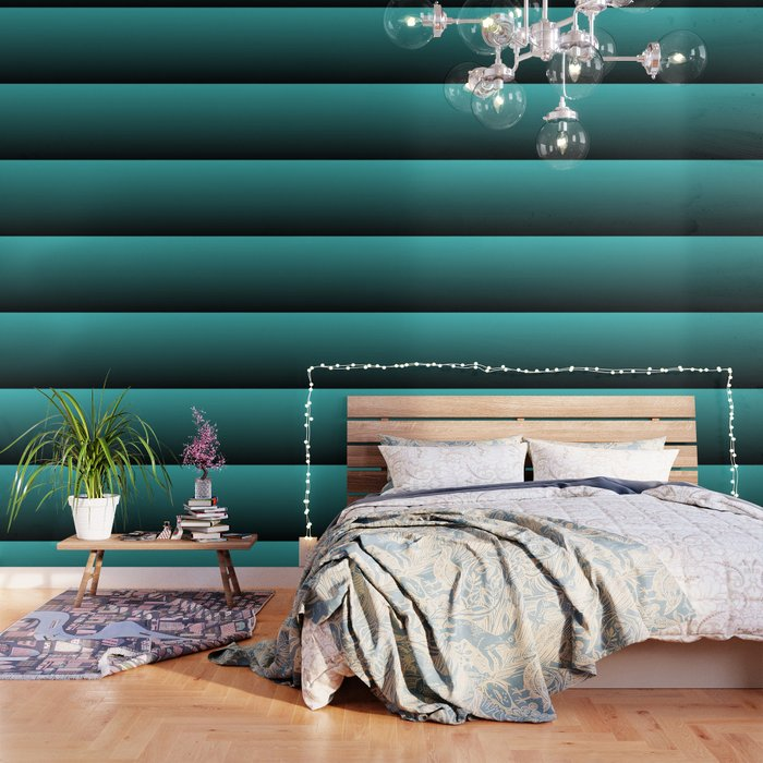 Teal Black Ombre Wallpaper