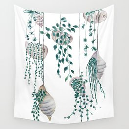 hanging plant in seashell Wall Tapestry