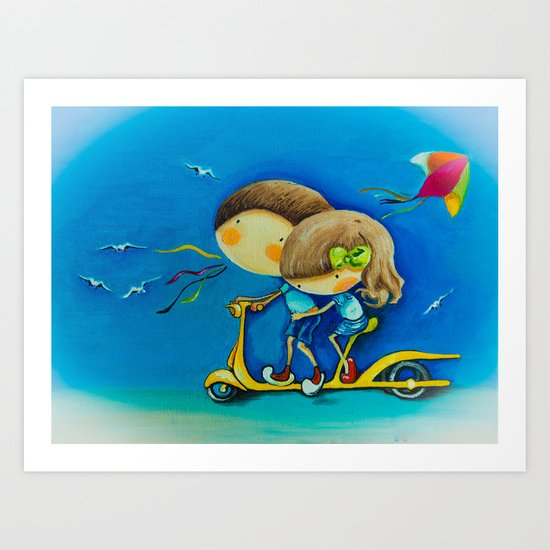 kids on the scooter Art Print