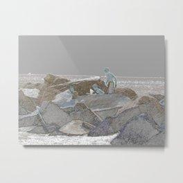Three boys jetty rocks sketch Metal Print