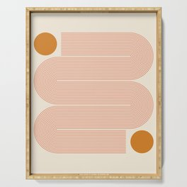 Abstraction_SUN_LINE_ART_Minimalism_002 Serving Tray