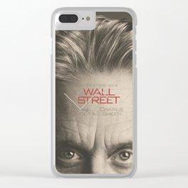 Wall Street, alternative movie poster, Gordon Gekko, Oliver Stone, film, minimal fine art playbill Clear iPhone Case