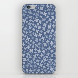 White Flowers on Blue iPhone Skin