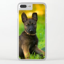 Wonderful autumn forest with curious dog puppies Clear iPhone Case