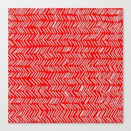 Scarlet Herringbone Lines Canvas Print