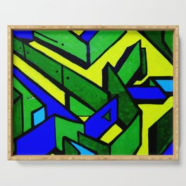 Green and blue graffiti - street art Serving Tray