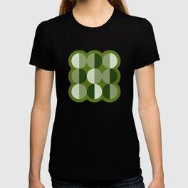 Retro circles grid green T-shirt