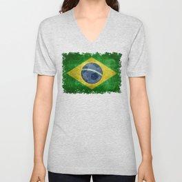Flag of Brazil with football (soccer ball) retro style Unisex V-Neck
