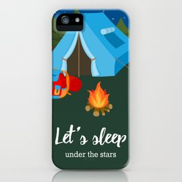 Camping blue tent iPhone Case