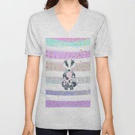 Pastel Color Tones Bea Badger by Bagaceous Unisex V-Neck