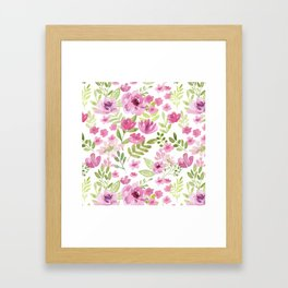Watercolor/Ink Sweet Pink Floral Painting Framed Art Print
