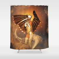angel wings Shower Curtains featuring Angel by nicky2342