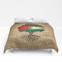 Vintage Tree of Life with Flag of Palestine Comforters