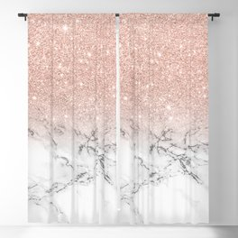 Modern faux rose gold pink glitter ombre white marble Blackout Curtain