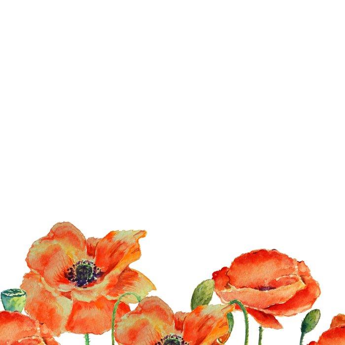 Watercolor poppy field illustration Leggings