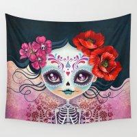 calavera Wall Tapestries featuring Amelia Calavera - Sugar Skull by Sandra Vargas
