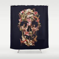 collage Shower Curtains featuring Jungle Skull by Ali GULEC